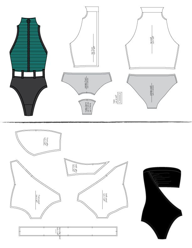 Presentation of 2 swimsuit models with the pattern made from scratch with Gerber.