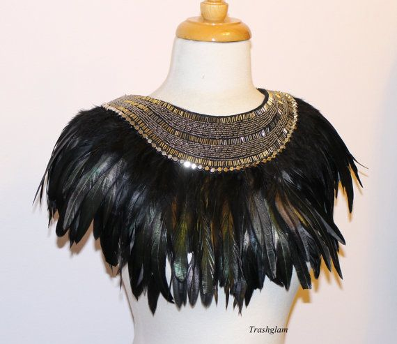 Trashglam extravagent black iridescent feathered neck corset shoulder hand beaded collar wrap Necklace high fashion Tribal egyptian godess