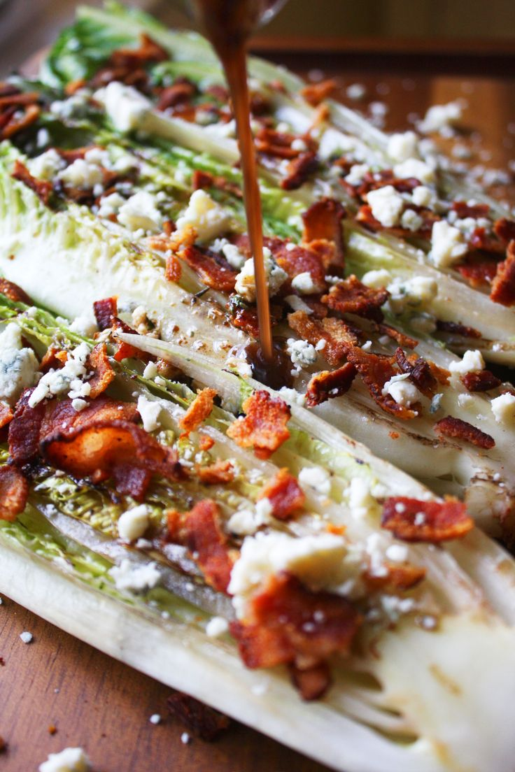 Grilled Romaine Salad with Bacon and Blue Cheese