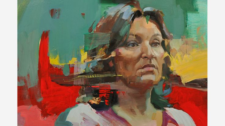 Actress Daniela Nardini painted by Christian Hook - joint third heat winner of Sky Portrait Artist of the Year 2014