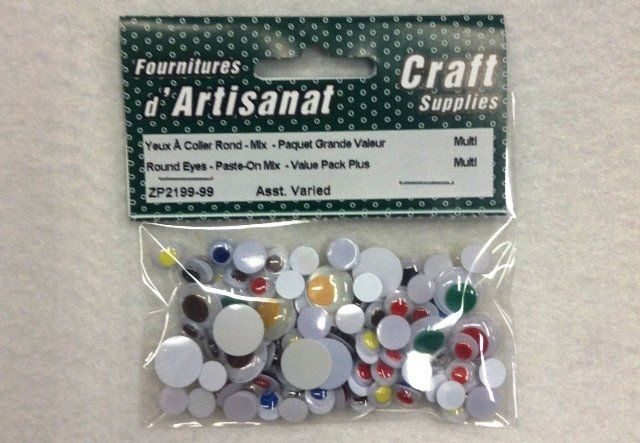 ZP2199-99 Eyes Paste-On Round Assorted Size Multi Color 5 grams