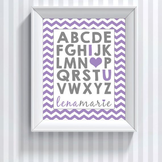 Alphabet Letter Wall Art Baby Girl Name Sign ABC by CLaceyDesign, $15.00