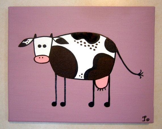 Purple Cow ~ Acrylic painting on canvas -> ->Personalize this cow! by MadCowzArt, €14.00  Cow Art