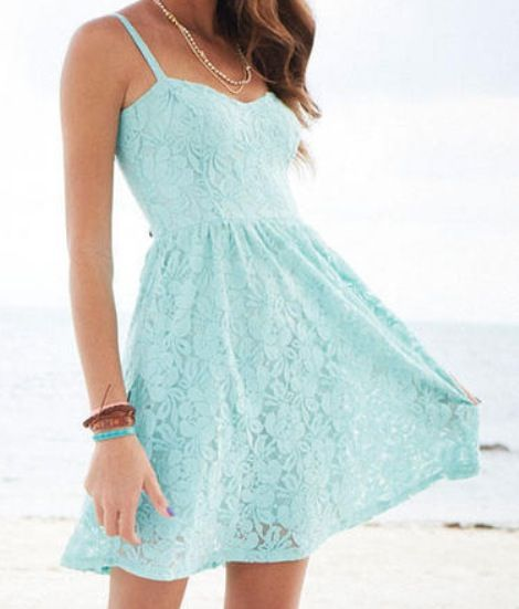 Blue and lacy dress. Its really pretty. find more women fashion ideas on www.misspool.com. Great with a light cardigan over.