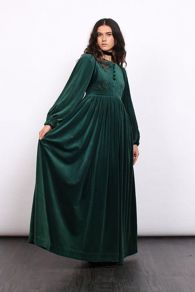 Vintage 70s Quad Emerald Velvet Embroidered Maxi Dress