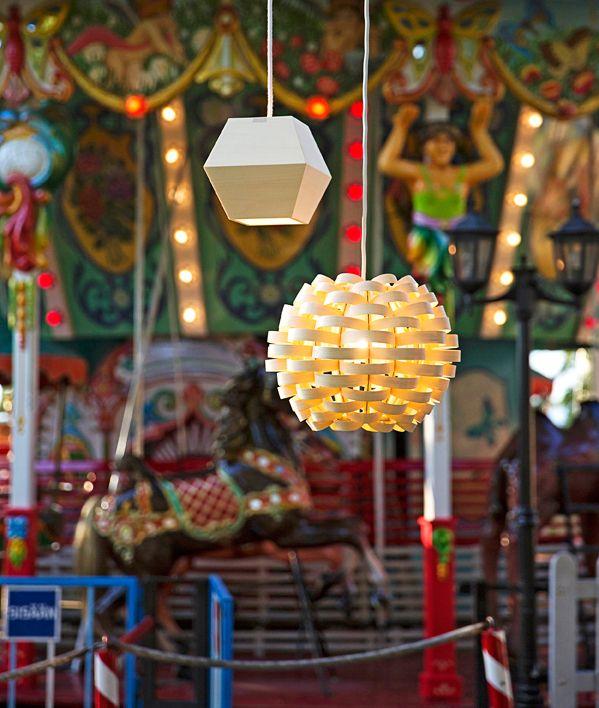 Tho lamps (Valo 003 by designer Susan Elo and Bamboo) in Linnanmäki amusement park. Styling Anna Aromaa, photo Anna Huovinen / Glorian Koti.
