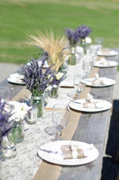 lavender, burlap, mercury glass