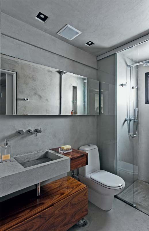 Apartamento de ex-solteiro com um só tom de cinza, com 150 m² e muito cimento queimado. Publicado na revista Arquitetura & Construção