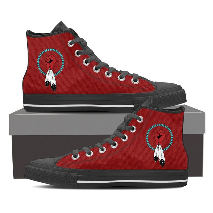Men's United Native Nations Red High Top Shoes