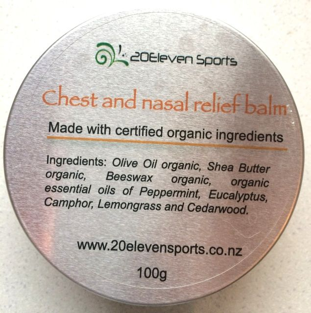 Organic chest and nasal relief balm- www.20elevensports.co.nz