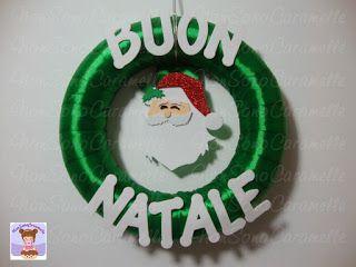 ghirlanda fuori porta natalizia, babbo natale, gomma crepla, goma eva, natale