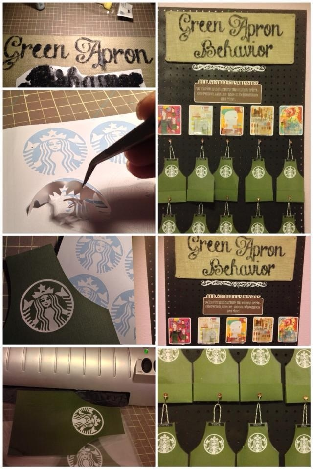 green apron recognition board with pocket card holder
