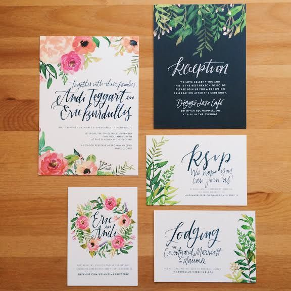 Andi & Eric's Custom Bohemian Wedding Invitations