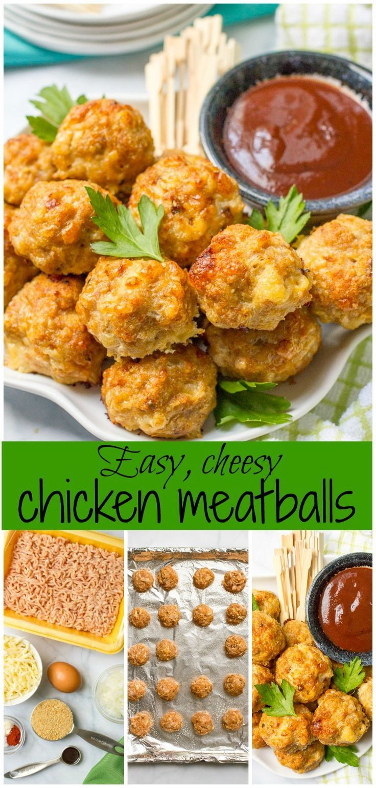 Cheesy chicken meatballs are easy to make, easy to bake and can be served as an appetizer or dinner! | www.familyfoodonthetable.com