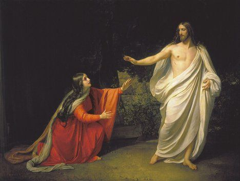 "Appearance of Jesus to Mary Magdalene after resurrection, Alexander Ivanov, 1835; ""What is a wife and what is a harlot? What is a church and what is a theatre? are they two and not one? Can they exist separate? Are not religion and politics the same thing? Brotherhood is religion. O demonstrations of reason dividing families in cruelty and pride!""   William Blake ;  Read more at http://www.brainyquote.com/quotes/quotes/w/williambla150128.html#YmkFGCXiKRwfBwZ9.99 ;"