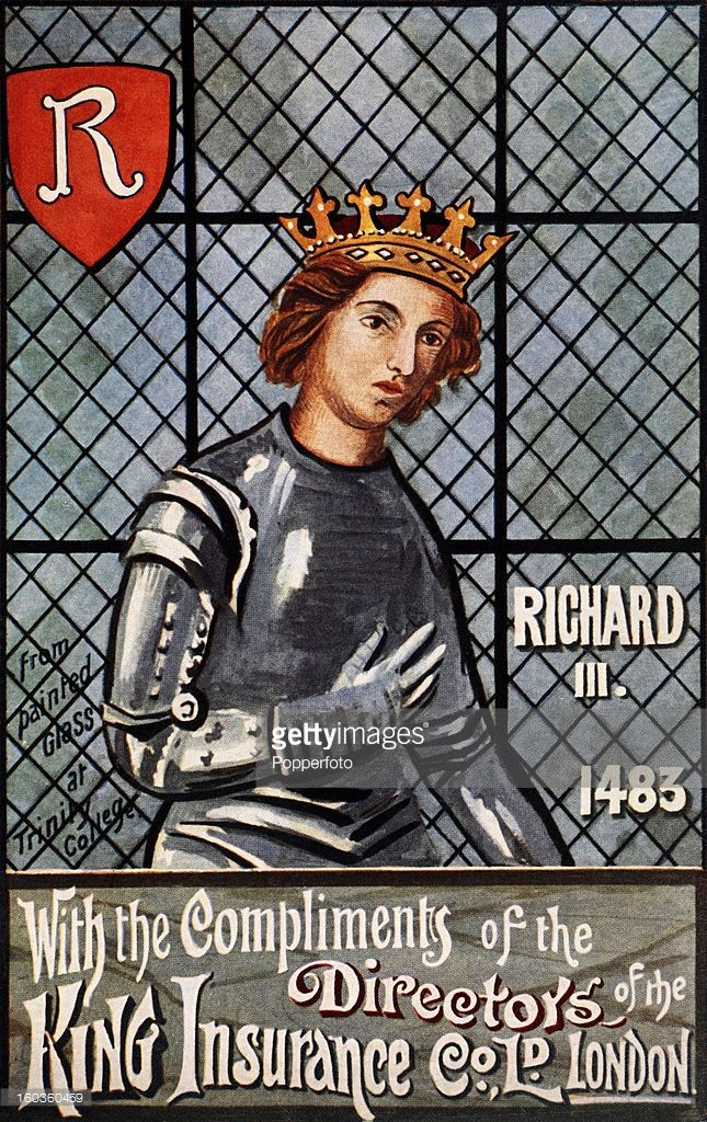 A vintage colour illustration of King Richard III promoting the King Insurance Company of London, circa 1910.