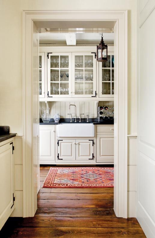 A simple, historically inspired pantry (Photo: Eric Roth) love all of this, floors, sink, cupboards and so on
