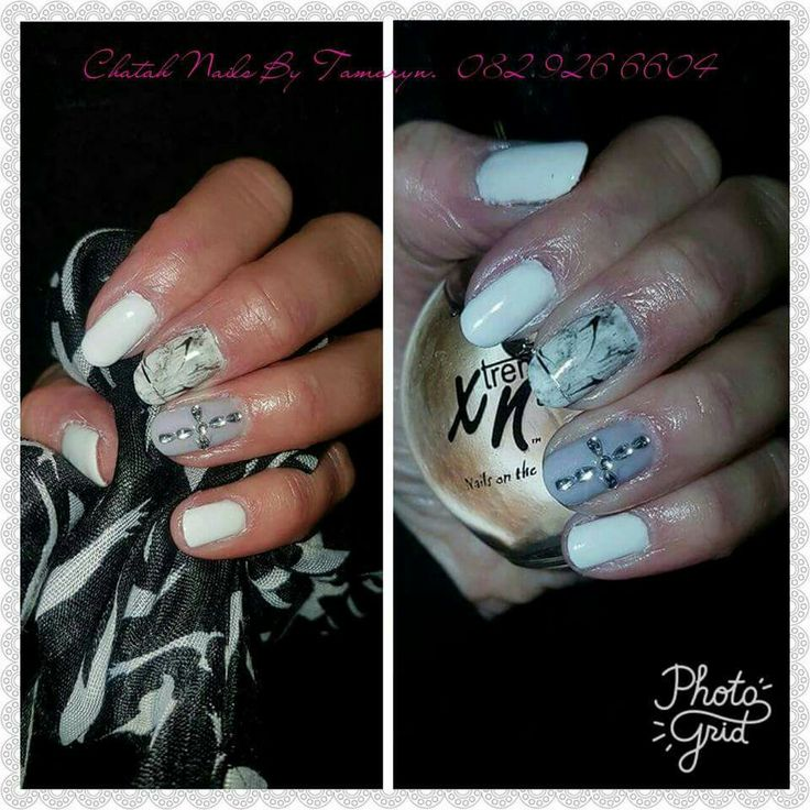 Chatah Nails. Marble and white