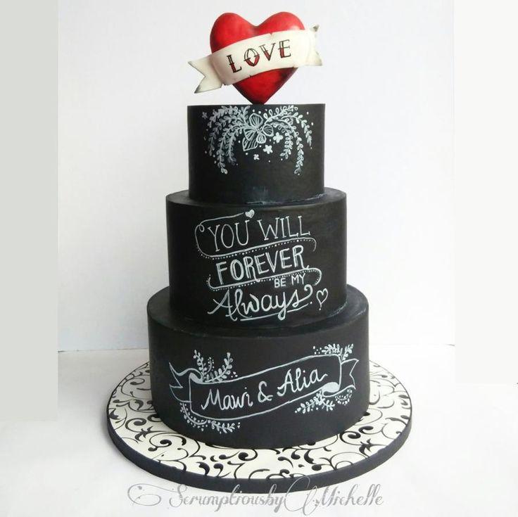 Chalkboard Groom's cake by Michelle Chan - http://cakesdecor.com/cakes/284425-chalkboard-groom-s-cake