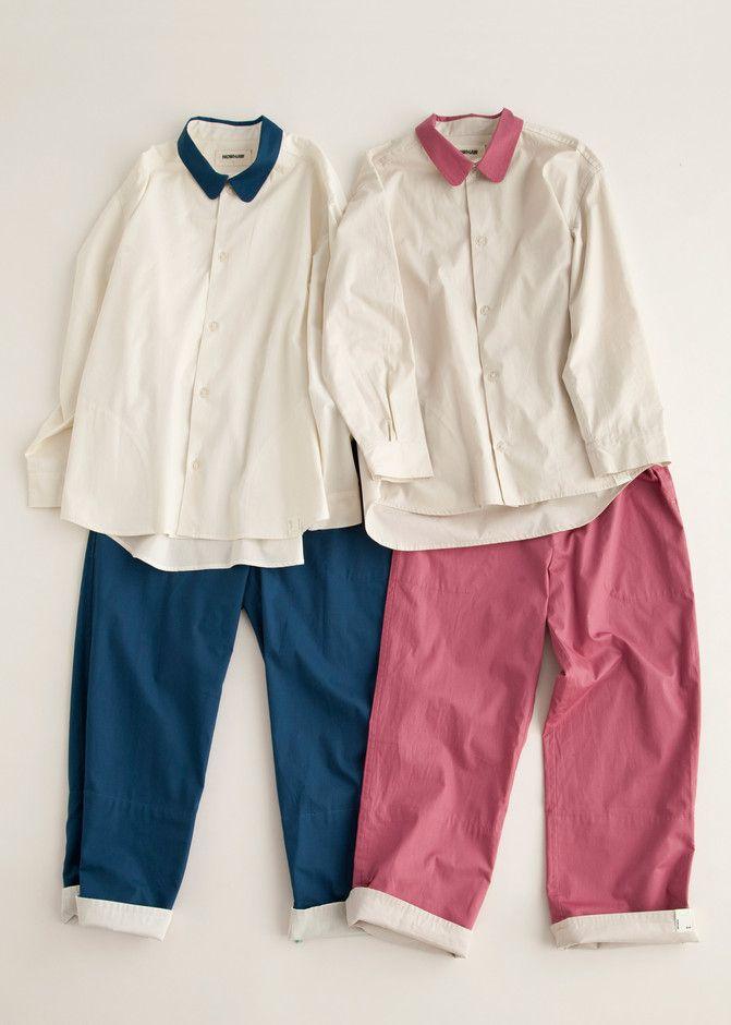 "NOWHAW : ""wander"" calar pajama # Navy×Offwhite / # Rose×Light beige パジャマ | Sumally (サマリー)"