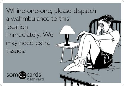 Whine-one-one, please dispatch a wahmbulance to this location immediately. We may need extra tissues.