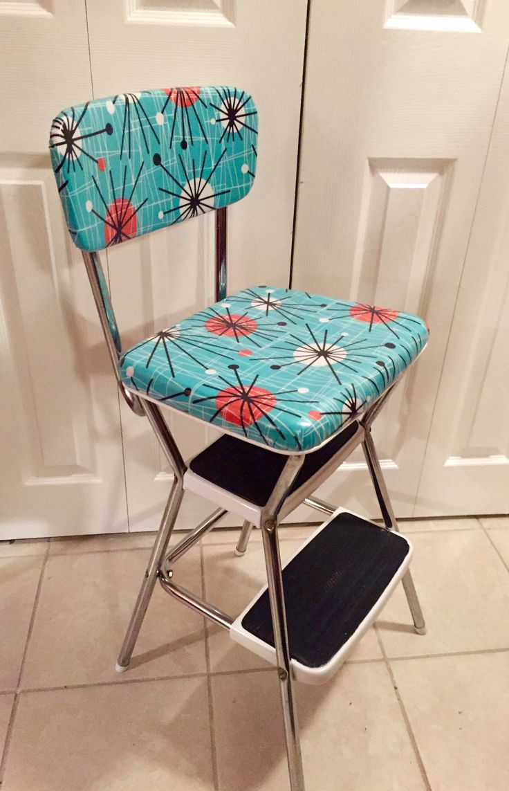 "Refinished retro Cosco stepping stool.This is the style we need for our new kitchen. Good place to put a chatting friend's behind as well as step to the top shelf of our 39"" top cabinets."