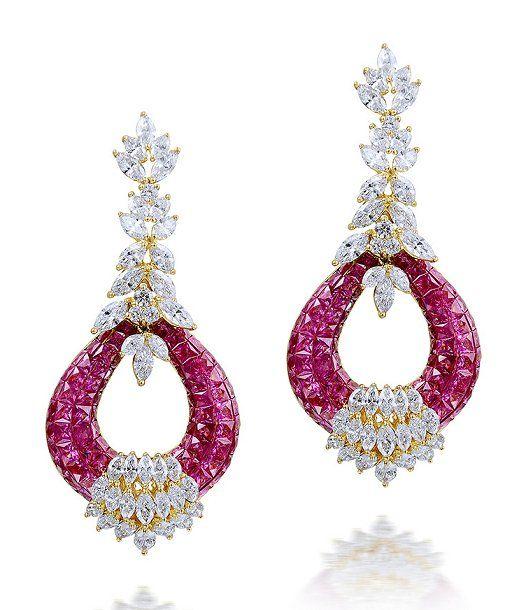 Farah Khan - Ruby and Diamond Earrings (=)