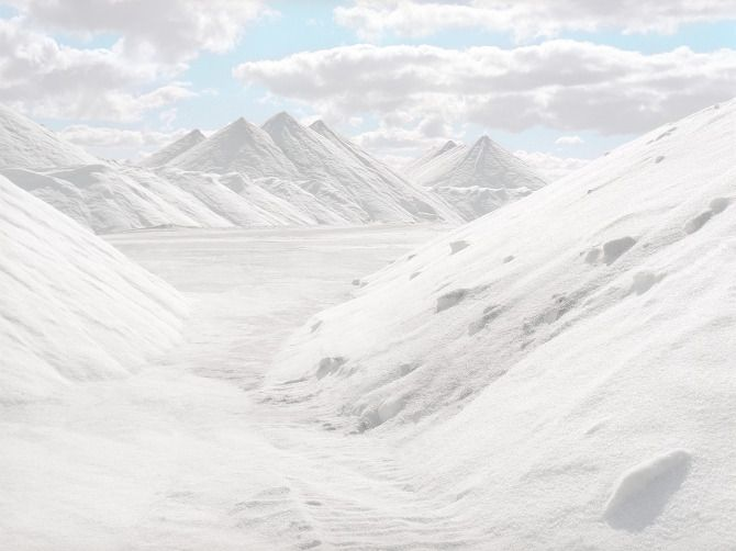 No, these aren't snow-covered mountains - they're an Australian salt refinery!