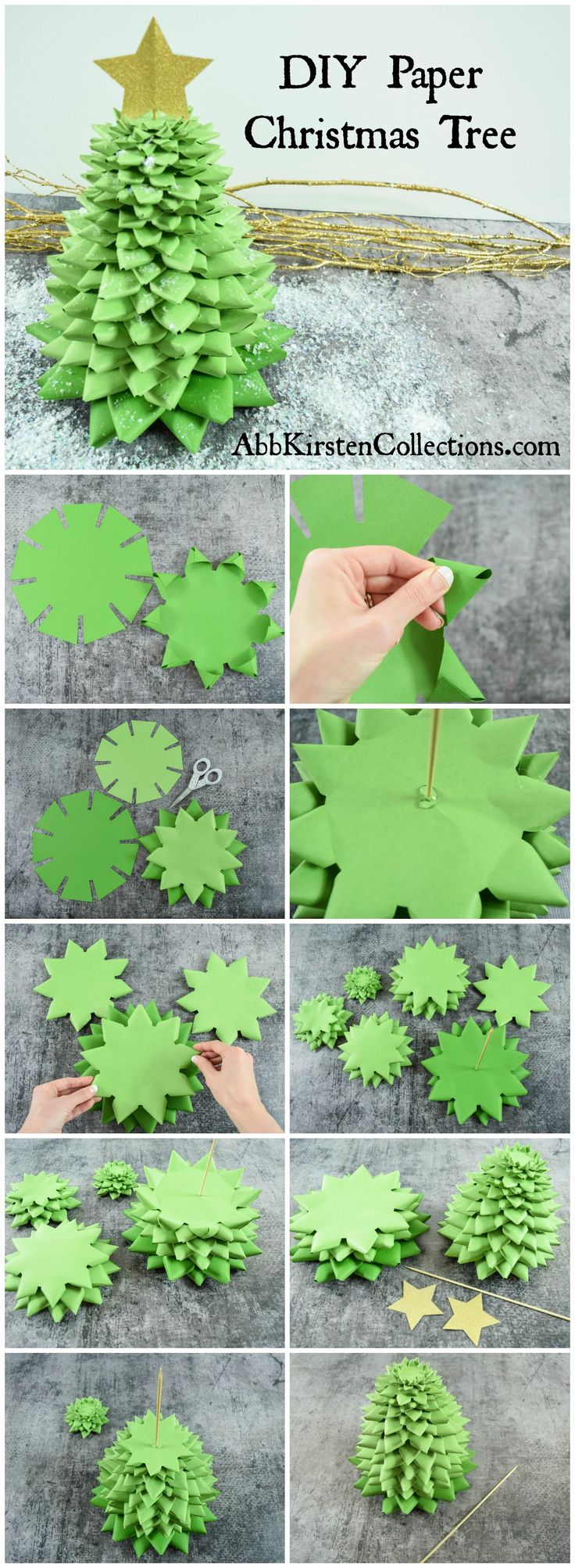 DIY step by step easy and fun Paper Christmas Tree Craft. Holiday paper crafts with printable template, svg cut file and full tutorial.