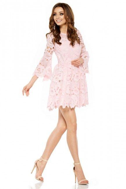 5a08377c17 Lemoniade Rozkloszowana cudna mini sukienka z koronki L262 pudrowy ...