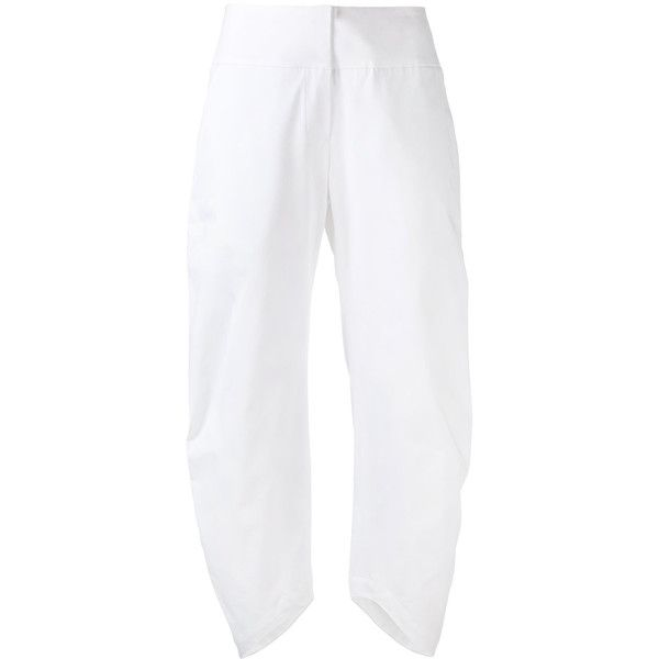 Io Ivana Omazic Asymmetric Cropped Trousers ($152) ❤ liked on Polyvore featuring pants, capris, white pants, cropped pants, white trousers, cropped trousers and white crop pants
