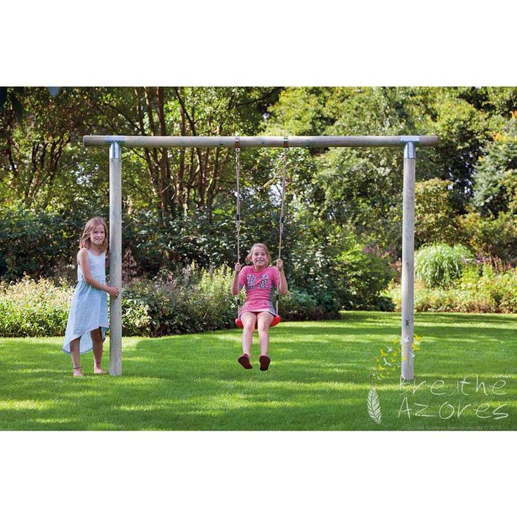 The Paula Swing Set is delivered ready to erect and includes the plastic swing seat, ropes, and hooks.  The Paula Swing Set measures 250cm x 190 cm with a 10cm pole diameter.