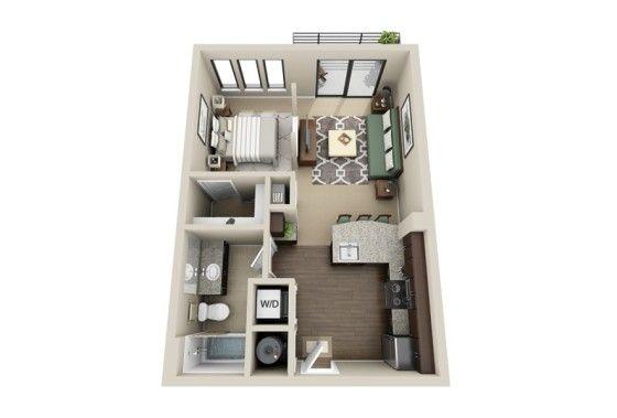 Planos de apartamentos peque os de un dormitorio best for Cool small studio apartments
