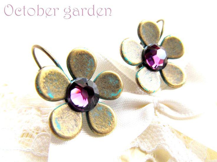 Hand-made bronze&swarovski crystals (amethyst) earrings Cercei October garden (38 LEI la afterforever.breslo.ro)