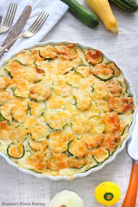 Crustless Zucchini Quiche by roxanashomebaking #Quiche #Zucchini #No_Crust