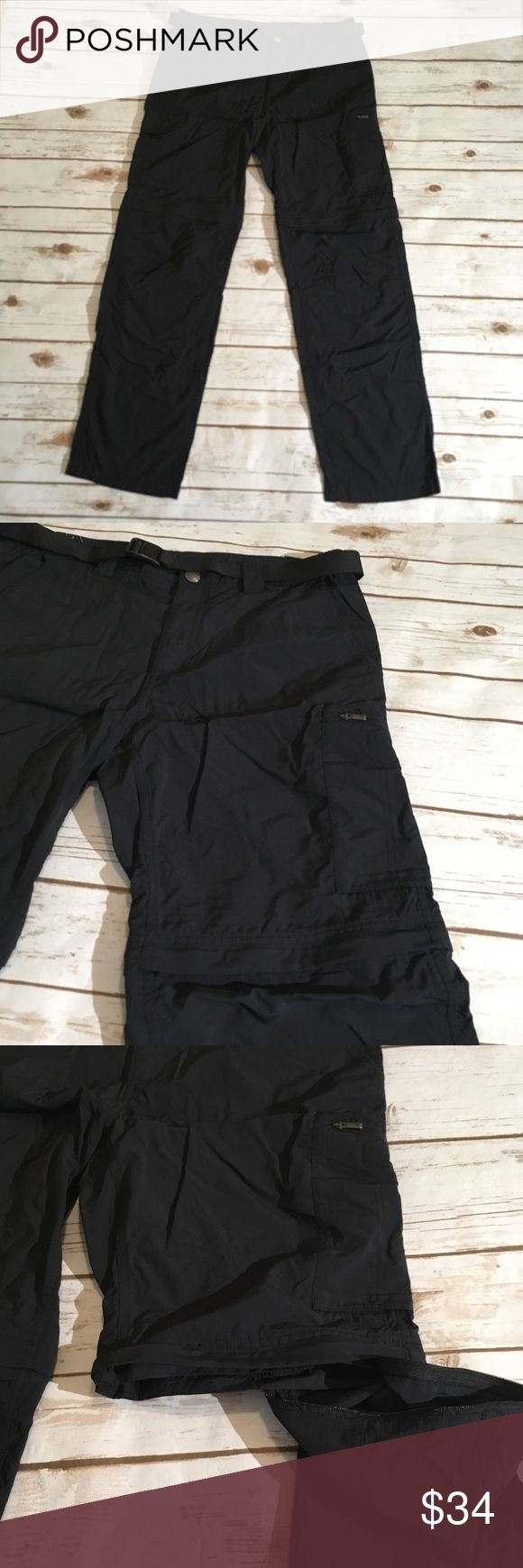 "Columbia lightweight hiking pant convert to shorts Columbia black lightweight men's hiking pants, converts to shorts 🌟Size- Men's 34 x 32 🌟Flat Measurements- 16"" waist 10.5"" rise 31.5"" inseam 9.5"" inseam for shorts  🌟Material- 100% nylon 🌟Condition- Excellent! No flaws noted Columbia Pants"