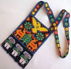 RESERVED FOR GODDESSSHAKTI Huichol Loom Beaded Eagle, Deer, Marakame and Peyote Necklace Chestplate