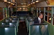 Wow. President Obama sits on the same bus where Rosa Parks refused to give up her seat.