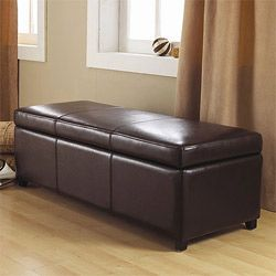 Franklin Large Rectangular Brown Faux Leather Storage Ottoman Bench $140