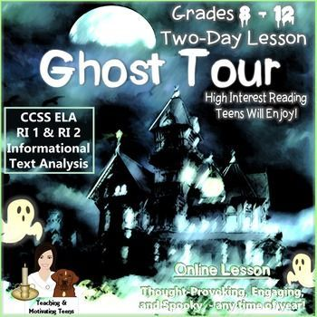 Ghost Tour Engaging ELA Web Research Grades 8-12 CCSS Aligned