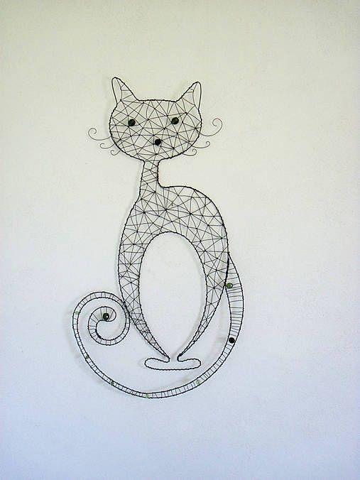 Kočka. Drátovaná dekorace.
