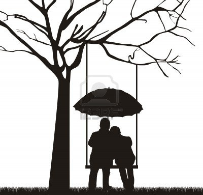 Tree swing couple silhouette