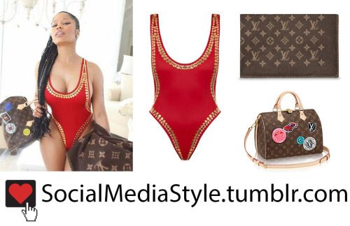 Buy Nicki Minaj's Studded Red Swimsuit and Louis Vuitton Bag and Blanket, here!
