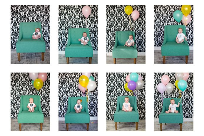 Monthly baby photo shoot. The balloons count the months