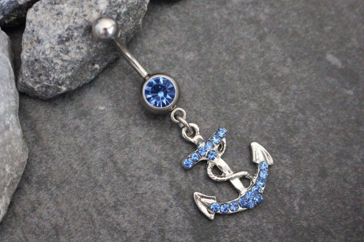Anchor Belly Ring with Blue Crystals