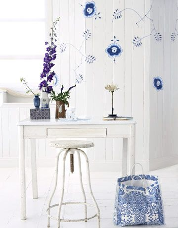 How to make wall decals from a Royal Copenhagen plate pattern. #crafts