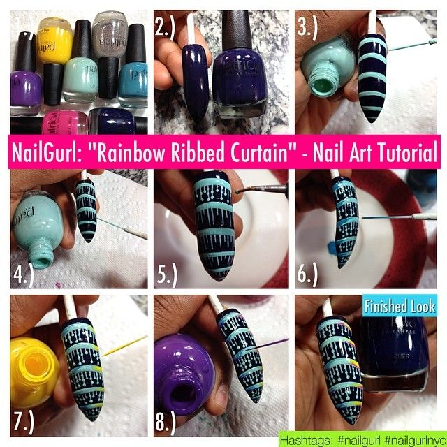 """NailGurl: """"Rainbow Ribbed Curtain"""" – Nail Art Tutorial Colors Needed: Patricia Yankee Nail Lacquer in """"Realm"""" (Dark Purple); """"Son"""" (Yellow);..."""