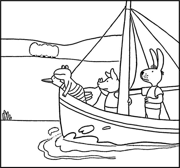 Kleurplaat: vervoer boot - Kikker Max Velthuijs