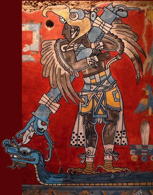 Representación de Hombre águila, Cacaxtla, Tlaxcala, México.