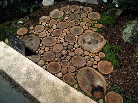 pathwayGardens Ideas, Trees Trunks, Walkways, Gardens Paths, Garden Paths, Step Stones, Wood Slices, Trees Stumps, Backyards